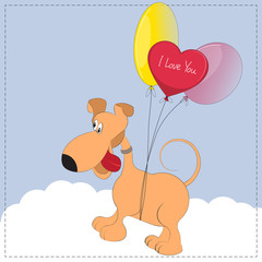 Cute cartoon dog is flying on the balloons.