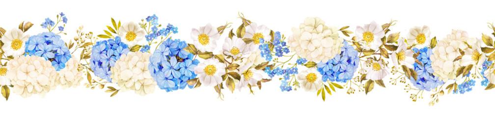 Horisontal floral banner. Seamless pattern. Blue jasmine