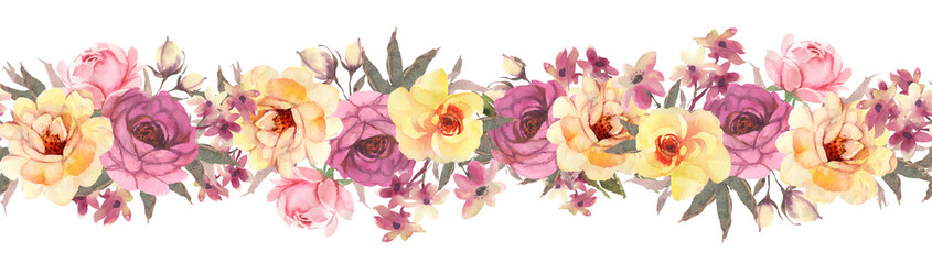 Horisontal floral banner witj  roses. Seamless pattern.