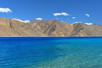 Shades of blue water in Pangong Lake, Ladakh, India