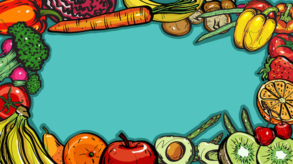 Hand drawn frame healthy food of different fruits and vegetables on blue background,  Vector Illustration for card or printing, web design.