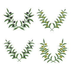 Wall Mural - Olive branch wreaths vector isolated on white background