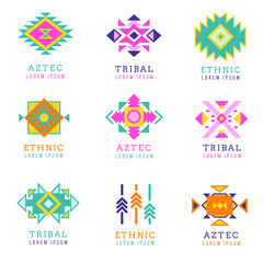 Wall Mural - Aztec or apache motif style logo set. Native mexican labels isolated on white background