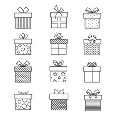 Gift boxes thin line icons. Vector present box linear signs set for celebration design