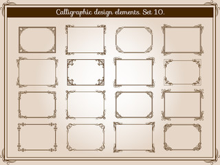Wall Mural - Vector decoration vintage flourish frames with elegant swirl and scroll corner elements
