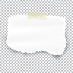 Torn piece of white paper with ripped edges and copyspace, vector illustration.