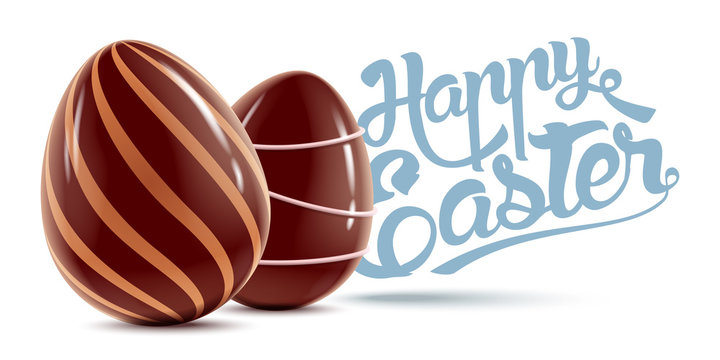Happy Easter background with chocolate eggs