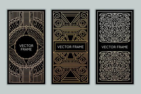 Vector set of design elements, labels and frames