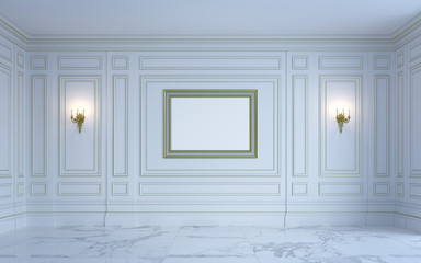 A classic interior is in light tones. 3d rendering.