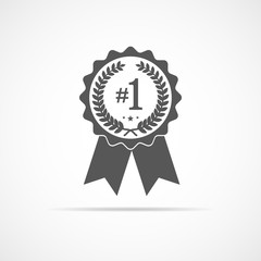 Gray medal icon with ribbon. Vector illustration.