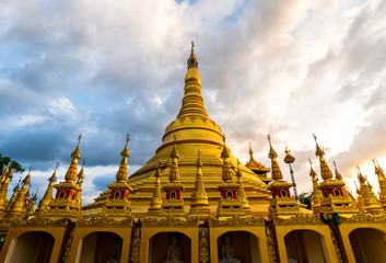 Shwedagon pagoda at Wat Suwan Khiri ,Ranong,Thailand.Replica of Shwedagon Pagoda landmark of Myanmar.