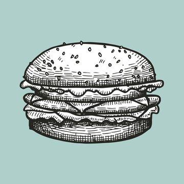 Burger fast food sketch