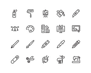 Design and craft icon set, outline style