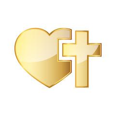 Golden Christian cross and silhouette of heart. Vector illustration