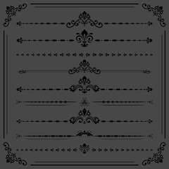 Vintage set of dark vector decorative elements. Horizontal separators in the frame. Collection of different ornaments. Classic patterns. Set of vintage patterns