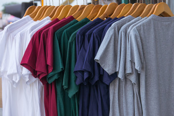 Various color of T-shrit on rack