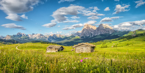 Alpe di Siusi in the Dolomites at sunset, South Tyrol, Italy Wall mural