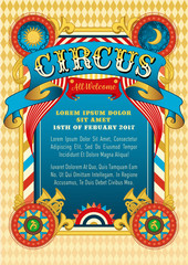 Circus template. Vector show invitation. Cartoon poster invite kids. Birthday party invitation design. Amusement park. Carnival, festival, funfair, masquerade theme. Circus background and retro ribbon