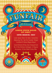 Funfair vector template. Circus tent. Retro poster invite kids. Birthday party invitation. Amusement park, ferris wheel, carousel. Carnival, festival, cabaret. Funfair background, vintage ribbon.