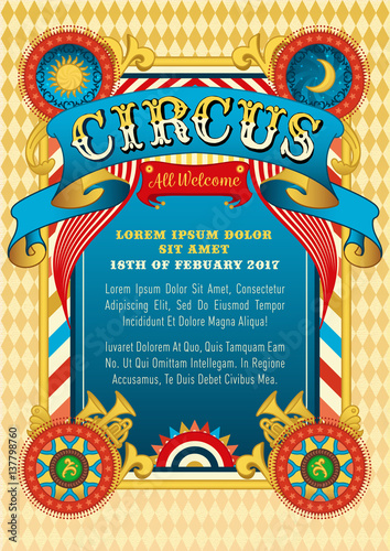 Circus Template Vector Show Invitation Cartoon Poster Invite Kids Birthday Party Design