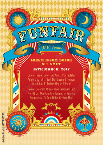 funfair vector template circus tent retro poster invite kids