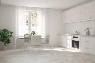 White kitchen with winter landscape in window. Scandinavian interior design