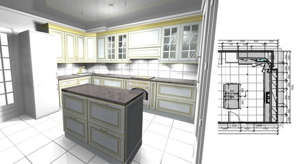 design project of the kitchen in a classic style and layout with dimensions