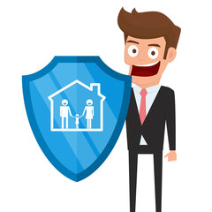 Concept of family insurance support service. Businessman holding shield symbol of protection with family in house icon.