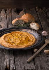 Hummus, spices, rosemary and garlic