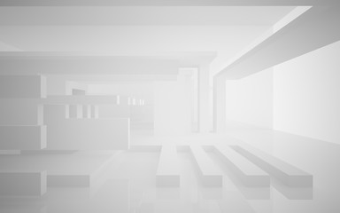 Abstract white interior highlights future. Architectural background. 3D illustration and rendering