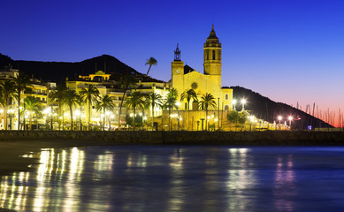 Sunset view of  church at  Sitges