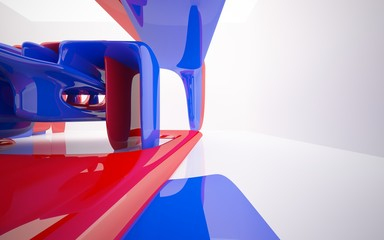 Abstract dynamic interior with red blue smoth objects . 3D illustration and rendering