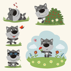Vector set funny wolf in different poses on summer meadow with flowers. Collection little wolf in cartoon style.