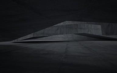 Empty dark abstract concrete room interior. 3D illustration. 3D rendering.