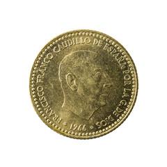 1 spanish peseta coin (1966) reverse isolated on white background