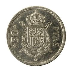 50 spanish peseta coin (1975) obverse isolated on white background