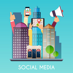 Social media and on devices in hands of city people. Flat design modern vector business concept.