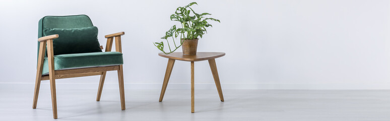 Chair and stool with plant Fototapete