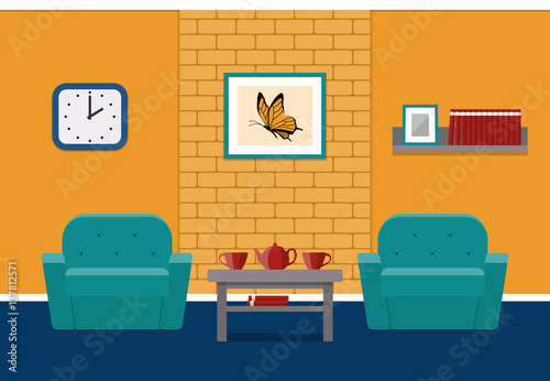 Living Room Interior In Flat Style Vector House Design