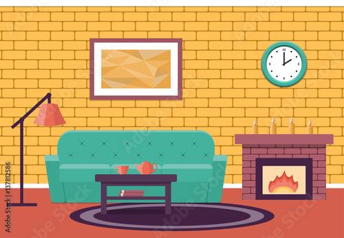 Room Interior Vector Living Design Lounge Cartoon