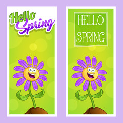 Banners hello spring with a cartoon flower