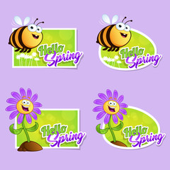 Set card hello spring with a cartoon bee and cartoon flower