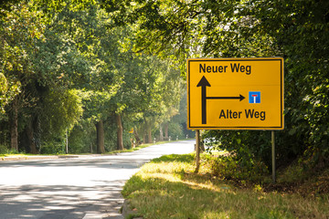 Fototapete - Schild 182 - Neuer Weg