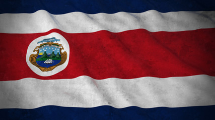 Grunge Flag of Costa Rica - Dirty Costa Rican Flag 3D Illustration
