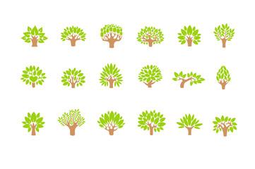Tree logo set. Tree illustration icon set. Tree with flowers