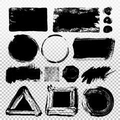 Set of black paint, ink brush strokes, brushes, lines. Dirty artistic design elements, boxes, frames. Vector illustration. Isolated on transparent background. Freehand drawing