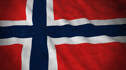 Grunge Flag of Norway - Dirty Norwegian Flag 3D Illustration