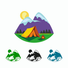 Camping and outdoor adventure illustration. Cartoon tent, campfire and mountain landscape.