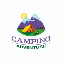 Camping and outdoor adventure logo. Color tourism emblem with a tent, campfire and mountain landscape.