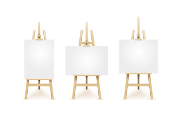 Set of wooden brown easels with mock up empty blank square canvases. Isolated white on background. Vector illustration EPS 10.